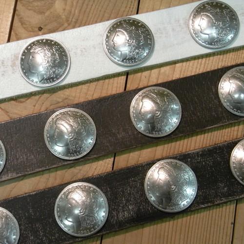 【角石】牛革★ベルト ◆40mm ♪USED加工した帯にレプリカのコインコンチョをを13個打ったベルト