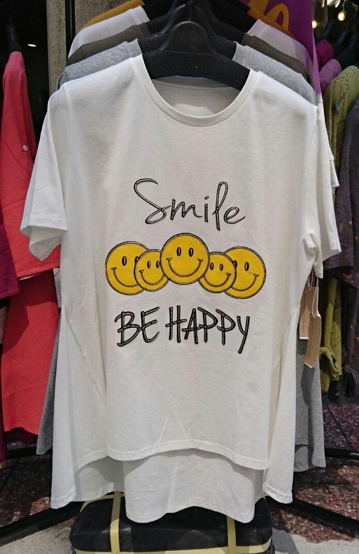 【クレッシェンド】スマイルプリントTシャツニコちゃんプリントTシャツゆったりシルエット